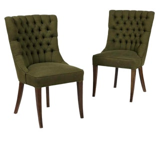 1960's Vintage John Stuart Tufted High-Back Accent Chair- A Pair For Sale