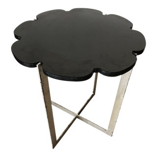 Black Granite With Silver Leaf Iron Base Side Table For Sale