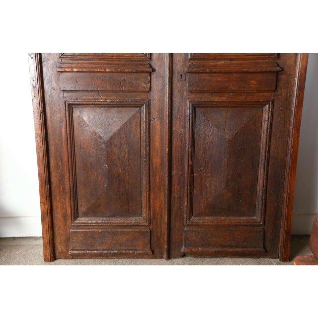 Mid 19th Century Set of French Painted Double Entry Door With Iron Insert For Sale - Image 5 of 11