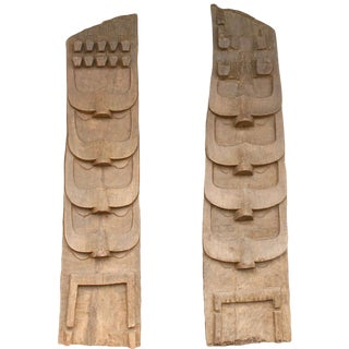 Tribal Carved Wooden Carvings From a Naga Structure, Northern India - a Pair For Sale
