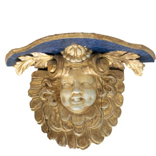 Mid 18th Century Vintage Italian Carved Cherub Wall Bracket For Sale