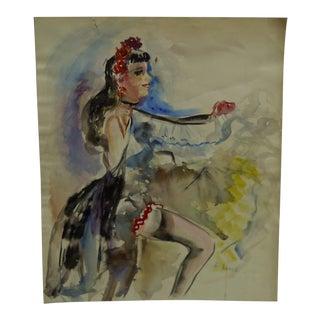 "1961 Original ""Colorful Dancing"" Painting on Paper by D. Lentz"