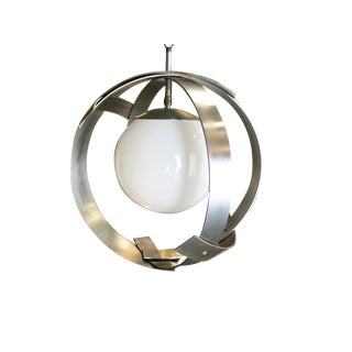 Mid-Century Abstract Aluminum Strip Ribbon Globe Chandelier For Sale