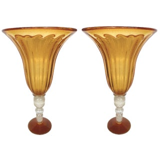 Amber Murano Glass Urns - A Pair For Sale