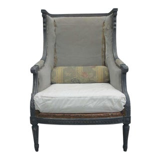 Pair of French Shabby Chic, Louis XVI Wingback Lounge Chairs Attr. Maison Jansen