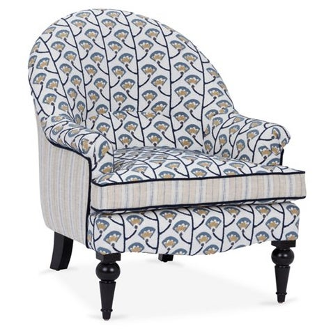 Brand new Kim Salmela Tatum Chair upholstered in a embroidered blue floral and contrasting stripe. Legs are built in and...