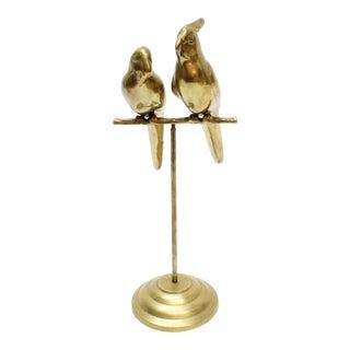 Brass Birds on Perch