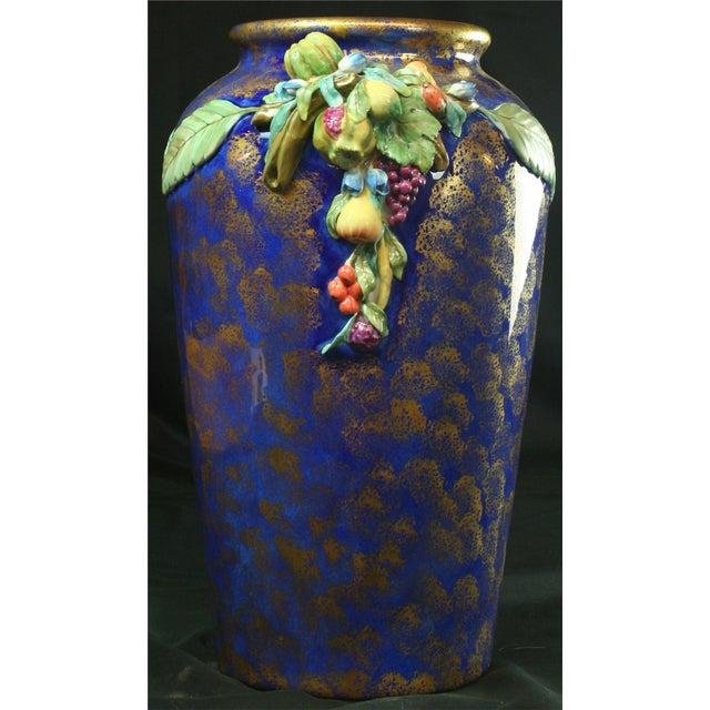 Italian Majolica Blue Ceramic Umbrella Stand Vase - Image 3 of 9