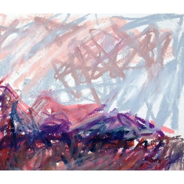 Original oil pastel on paper by Ben Haggard. Santa Rita Mountains, just before sunset, February 2014. Vivid colors blazed...