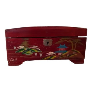 Vintage Lacquered Painted Treasure Box For Sale