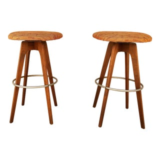 Mid-Century Danish Walnut Bar Stools - A Pair