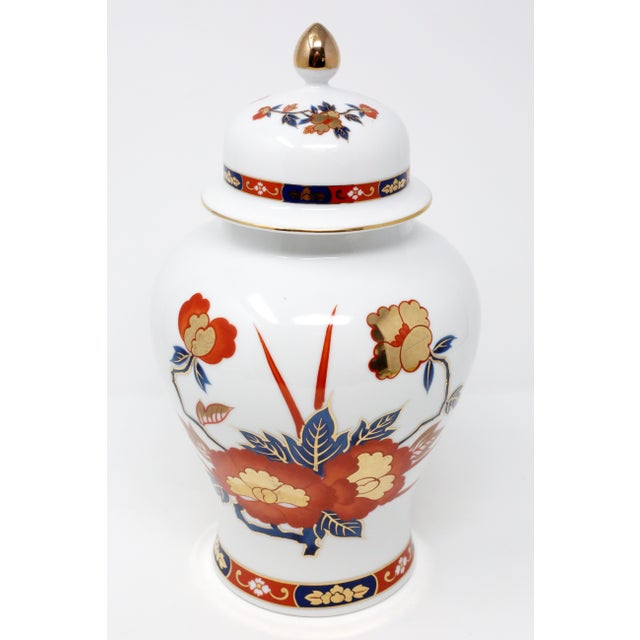 Macy's Vintage Ginger Jar With Hand-Painted Rust, Blue and Gold Flowers For Sale - Image 4 of 11