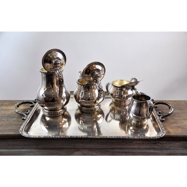French Silverplated Coffee Tea Serving Set - 5 Pieces For Sale - Image 9 of 12