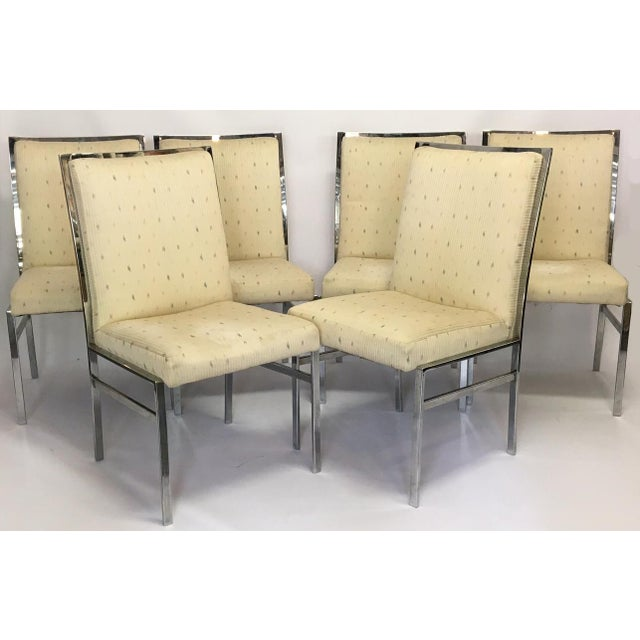 Chrome Upholstered Dining Chairs After Milo Baughman - Set of 6 - Image 2 of 8