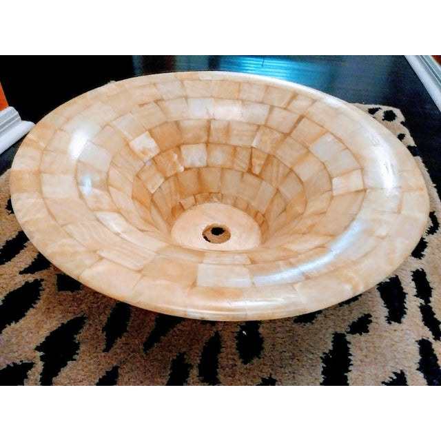 Tessellated Natural Stone Vessel Above Vanity Sink For Sale - Image 4 of 8