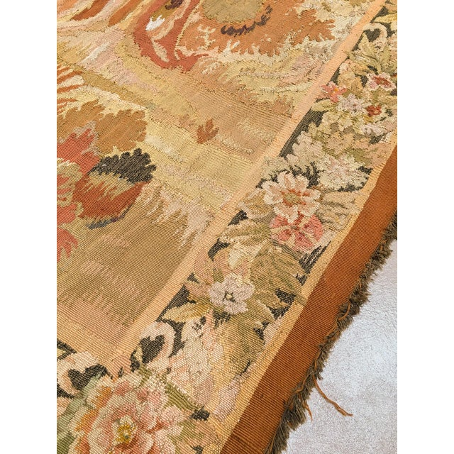 """Brown Antique Old World Hunting Tapestry, Circa 1900, 4'10"""" X 6'5"""" For Sale - Image 8 of 11"""