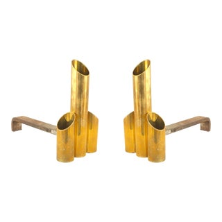 Post-War Brass Cylinder Andirons For Sale