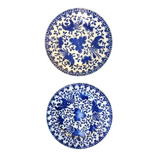 Vintage Japanese Hand Painted Plates - a Pair For Sale