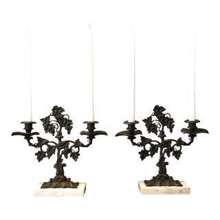 Antique Bronze & Marble Grapevine Girandole Candelabras—a Pair For Sale