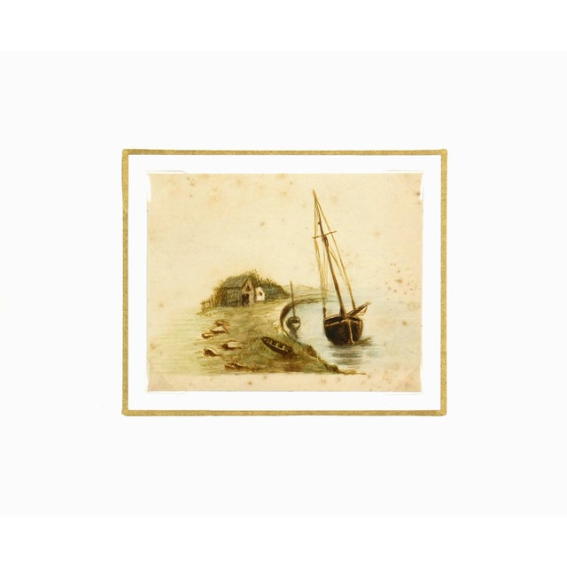 Nautical Antique Watercolor Painting Shoreside, Circa 1900 For Sale - Image 3 of 3