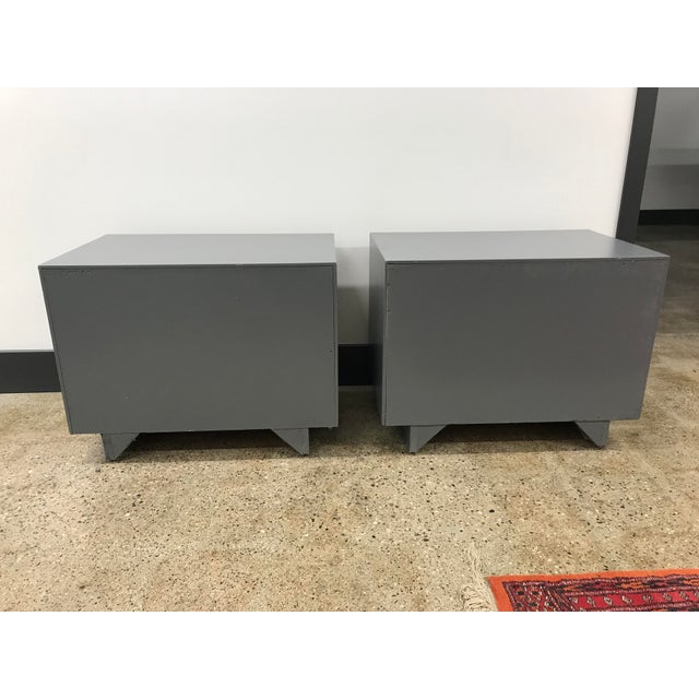 Midcentury Walnut and Grey Painted Nightstands by Lane - a Pair For Sale - Image 6 of 8