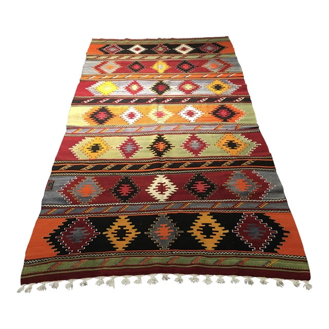 "Vintage Turkish Kilim Patterned Rug - 6'2""x11'3"" - Image 1 of 9"