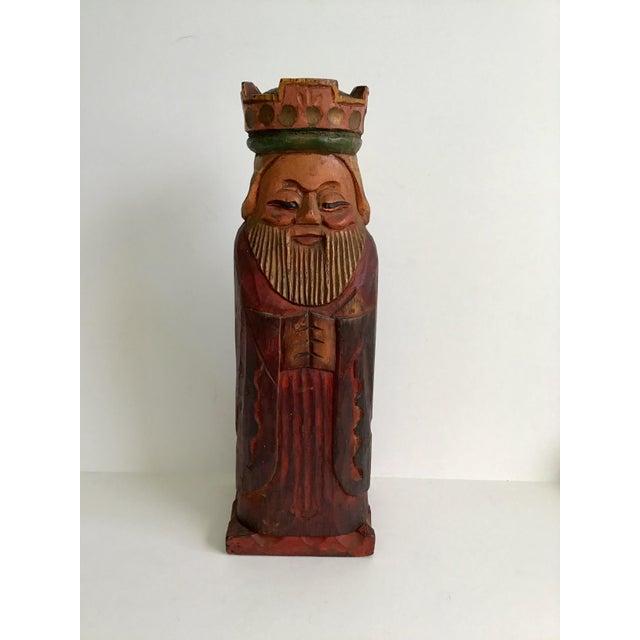 Wood Vintage Carved Wood King Wine Bottle Holder For Sale - Image 7 of 7
