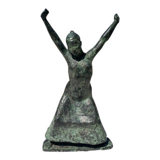 "1980s Modern Bronze by ""Hanne Braun"" of a Woman With Arms Raised For Sale"