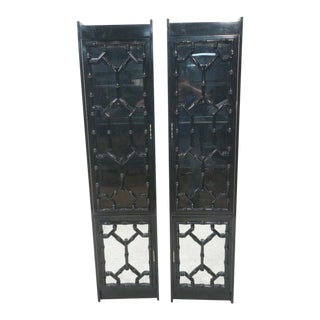 Black Lacquered Faux Bamboo Cabinets with Glass Doors