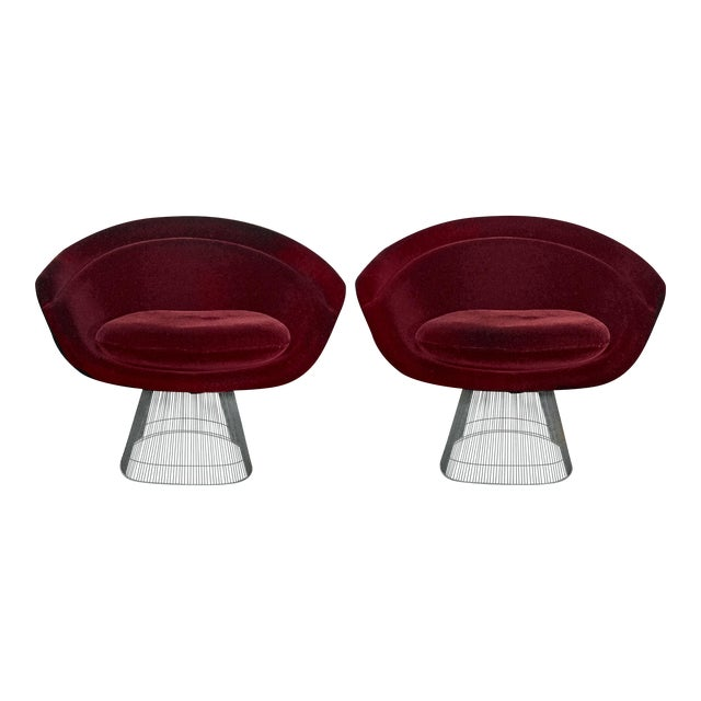 Final Markdown Platner Burgundy Mohair Lounge Chairs - a Pair - Image 1 of 3