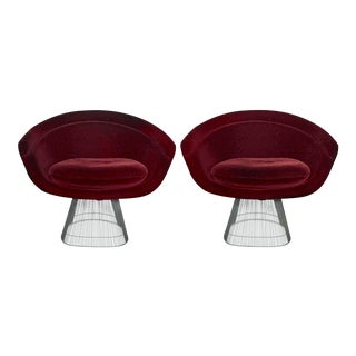 Platner Burgundy Mohair Lounge Chairs - A Pair