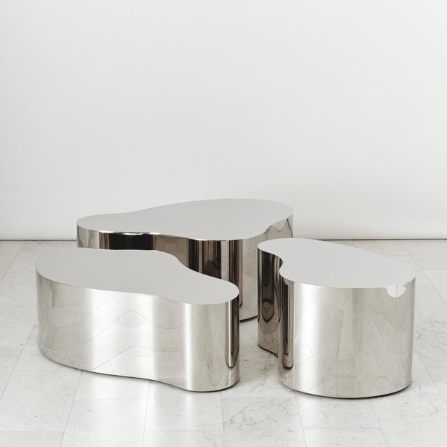 Modern Stainless Steel Free Form Low Table, Usa For Sale - Image 3 of 3