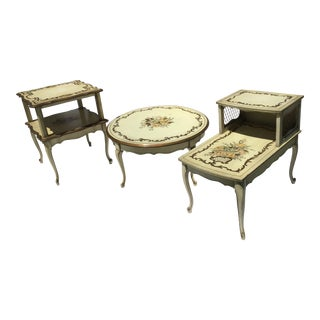 French Tole Coffee & Pair End Tables - Set of 3