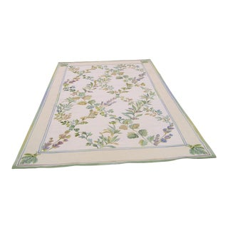 Needlepoint Wool Carpet by Asmara, Aubusson - 6′ × 9′ For Sale