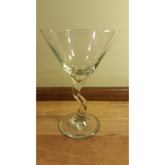 Glass Zig Zag Stem Wine Glasses - A Pair For Sale - Image 4 of 5