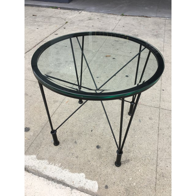 1970s Post Modern Glass Top Round Metal Side Table For Sale - Image 10 of 10