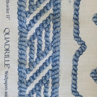 Quadrille Blue and White Regency Ropes Fabric- 2 1/2 Yards For Sale
