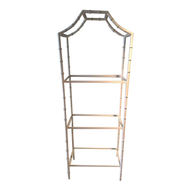 Vintage Faux Bamboo Etagere For Sale