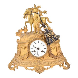 Late 19th Century Rococo Style Gilt-Metal Figural Mantel Clock For Sale