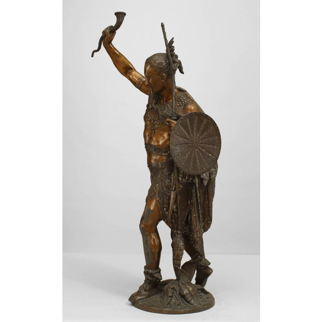 Late 19th Century Turn of the Century Lacquered American Indian Warrior Sculpture For Sale - Image 5 of 5