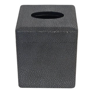 Black Shagreen Tissue Box Final Clearance Sale For Sale