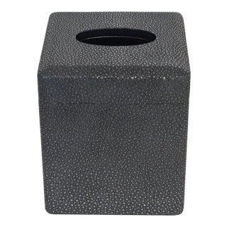 Italian Black Shagreen Tissue Box by Fabio Ltd For Sale