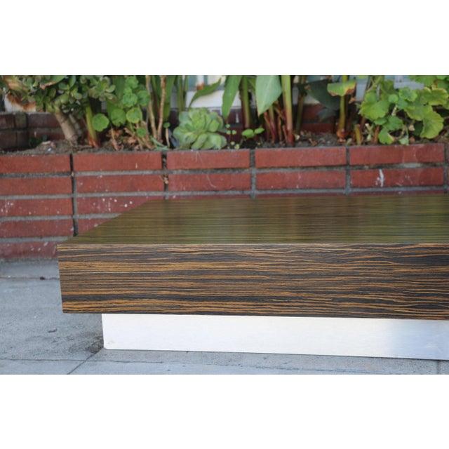 Custom Made Zebra Wood Coffee Table For Sale - Image 4 of 8