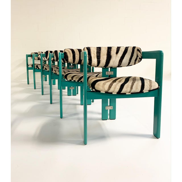 Pozzi Augusto Savini for Pozzi 'Pamplona' Dining Chairs in Zebra - Set of 8 For Sale - Image 4 of 10