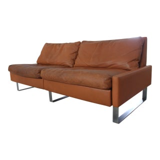 Cor Germany Mid Century Tan Leather Sofa Settee