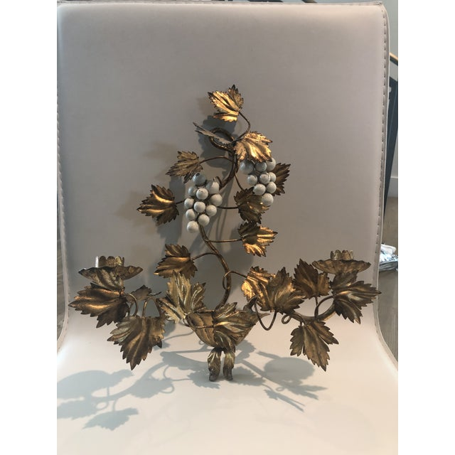 Gold Leaf and Cream Grapes Wall Hung Candleabra For Sale In San Antonio - Image 6 of 6