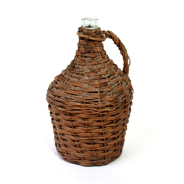 Antique Wicker Covered Wine Jug For Sale In Los Angeles - Image 6 of 6