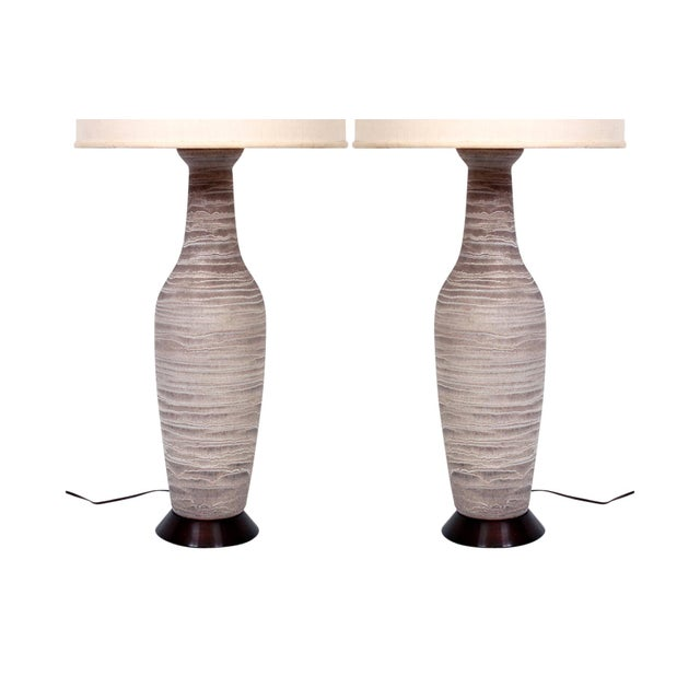 Pair of Large Pottery Table Lamps by Design Technics For Sale - Image 11 of 11