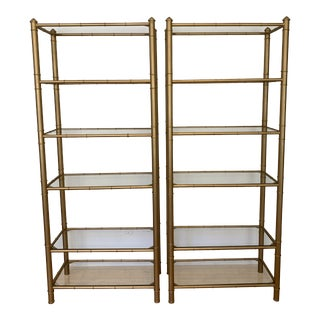 Mid-Century Modern Metal Faux Bamboo Etageres - a Pair For Sale