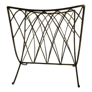 1980s Americana Sculpted Metal Magazine Rack